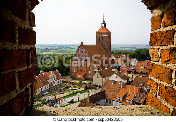Impressive buildings in Reszel, Poland - csp58423585