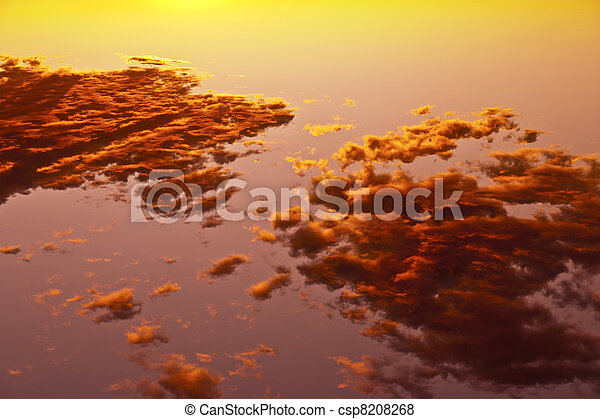 impressive sunset in the desert in Arizona with golden clouds - csp8208268