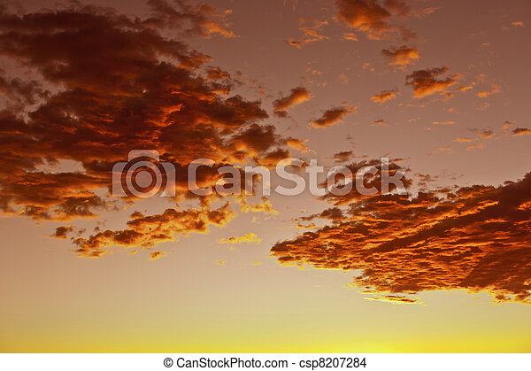 impressive sunset in the desert in Arizona with golden clouds - csp8207284