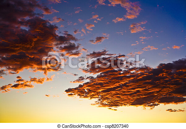 impressive sunset in the desert in Arizona with golden clouds - csp8207340