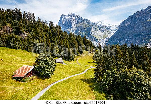 Impressive view of alpine Eiger village. Location place Swiss alps, Grindelwald valley, Europe. - csp68017904