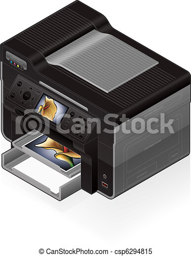 Clipart Vecteur de imprimante bureau jet encre isomtrique