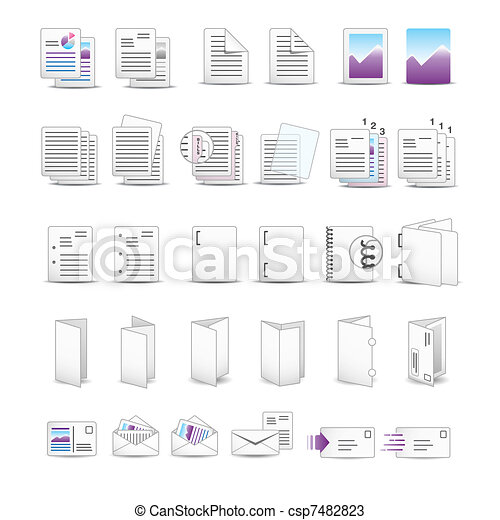 imprimindo, ícones - csp7482823