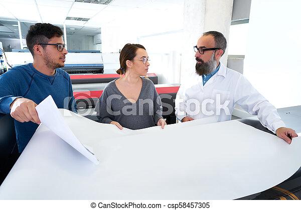 imprimindo, plotter, indústria, impressora, equipe - csp58457305