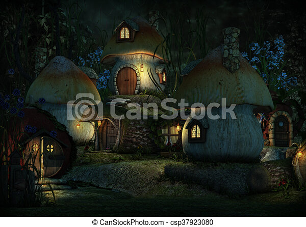 Imps Village by Night, 3d CG - csp37923080