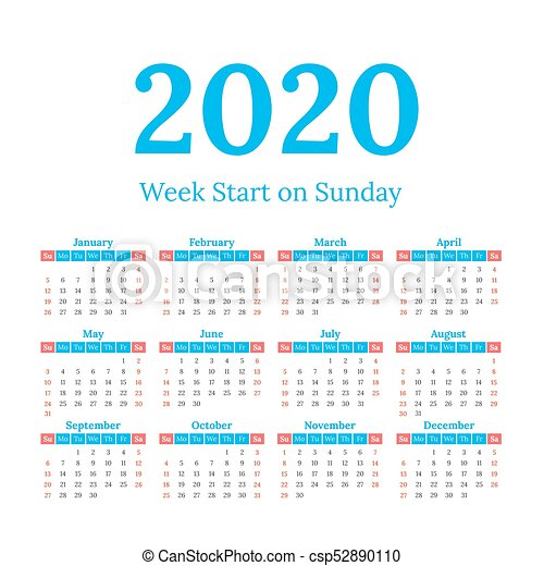 Calendario 2020 Semanas.Inicio Calendario 2020 Domingo