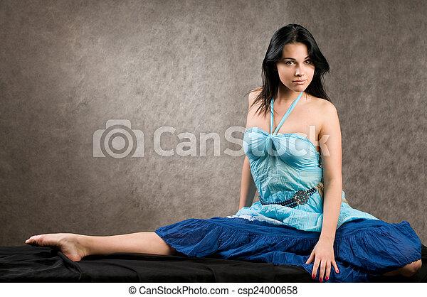 in a blue dress - csp24000658