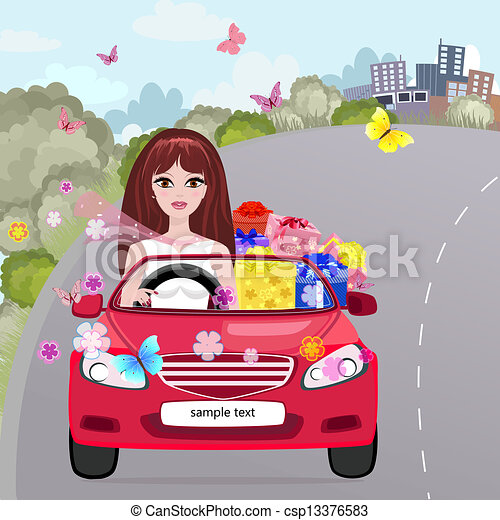 in a red convertible with gifts - csp13376583