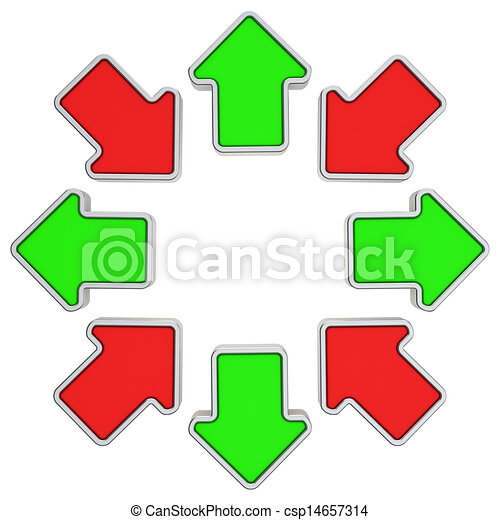 In And Out Outgoing And Inward Arrows In A Circle