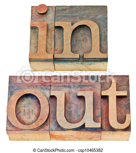 In And Out Word In Wood Type In And Out Isolated Words In Vintage