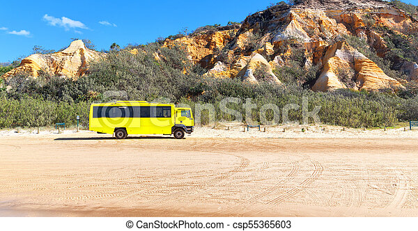 in australia and the sand track of the bus - csp55365603