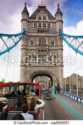 In bus on Tower Bridge in London. Tower Bridge is one of most recognizable bridges in world. - csp8000057