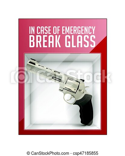 Red emergency box with in case of emergency breakable glass box in case of emergency break glass revolver concept maxwellsz