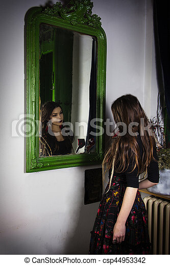 In Front Of Mirror Girl Standing In Front Of Wall Mirror