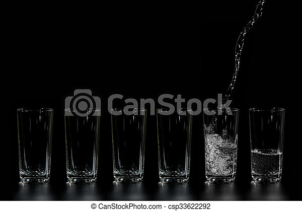 in glass beakers pure water is poured - csp33622292