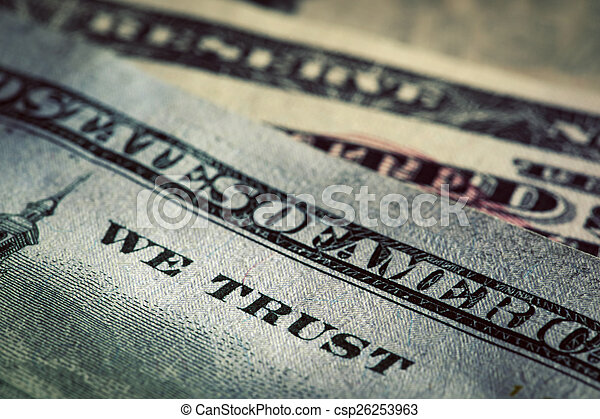 In God We Trust motto on One Hundred Dollars bill - csp26253963