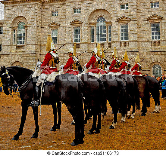 in london england horse and cavalry for the queen - csp31106173