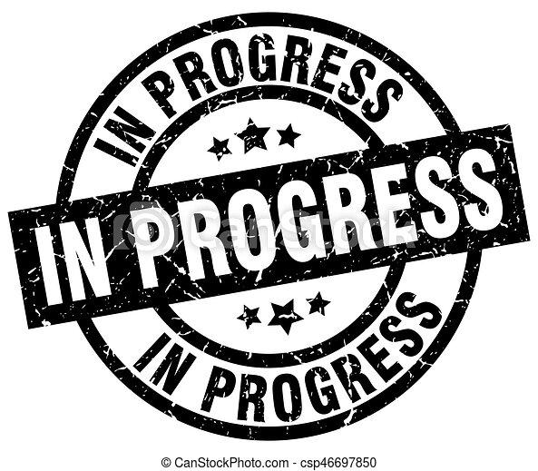 in progress round grunge black stamp - csp46697850