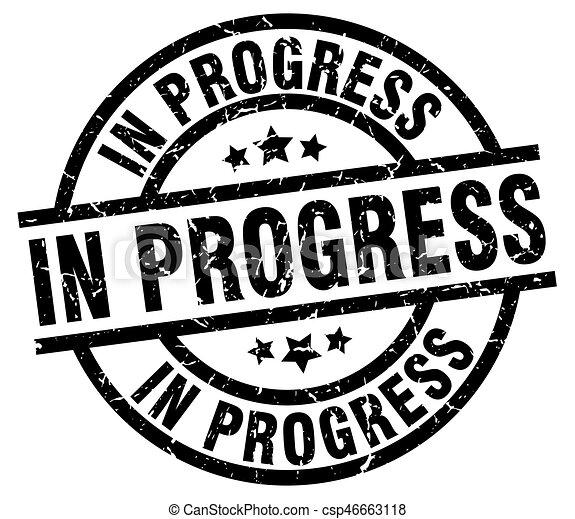 in progress round grunge black stamp - csp46663118