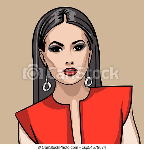 in red dress. - csp54579874