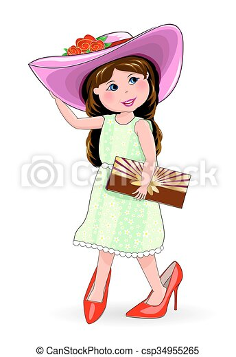 in shoes and ladies' hat. Little fashion-woman - csp34955265