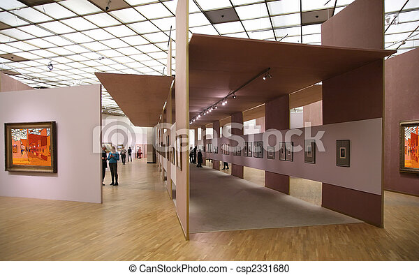 in the art gallery 2. All pictures on wall just filtered whole this photo - csp2331680