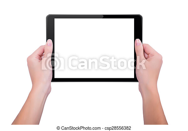 In the hands of girl black tablet - csp28556382