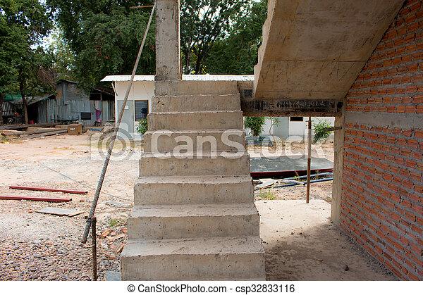 Inacabado escalera sitio cemento concreto for Construccion de escaleras de cemento
