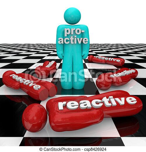 inactivité, personne, gens, gagne, réactif, vs, perdre, proactive - csp8426924