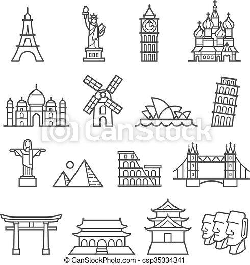 iconos de marca. Estatua de la libertad, torre de pisa, torre Eiffel, gran ben, taj mahal, catedral de San Basil, Cristo el redentor, molino de viento, ópera de Sydney, piramide, colosseum, puente de Londres, castillo de osaimi prohibido, - csp35334341