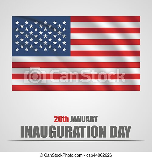 Inauguration Day with USA waving flag on a gray background - csp44062626