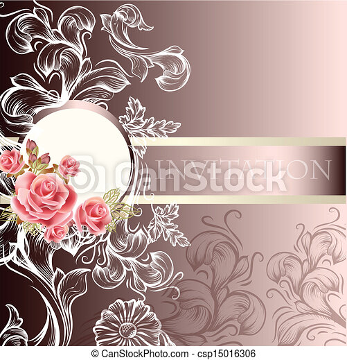 inbjudan, bröllop, kort, elegant - csp15016306