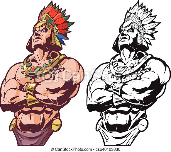 Inca Or Mayan Or Aztec Warrior Vector Cartoon Clip Art Illustration Bust Of An Inca Or Mayan Or Aztec Warrior Or Chief
