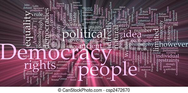 incandescent, mot, démocratie, nuage - csp2472670