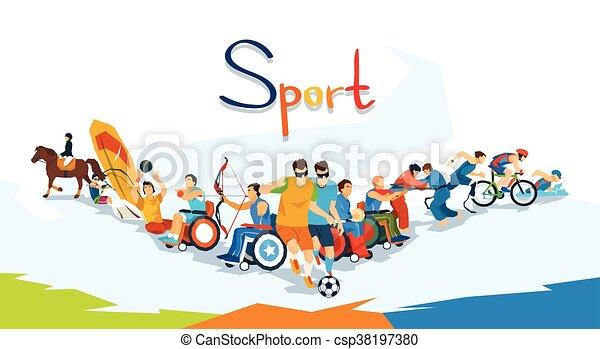 Estandarte de competición de atletas discapacitados - csp38197380