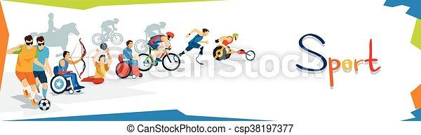 incapacitado, atletas, desporto, bandeira, competição - csp38197377