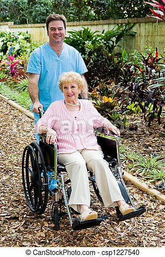 incapacitado, mulher sênior, enfermeira - csp1227540