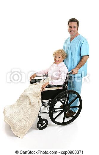 incapacitado, perfil, sênior, enfermeira, & - csp0900371