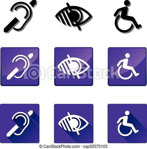incapacitado, surdo, 2, cego, ícones - csp32070103