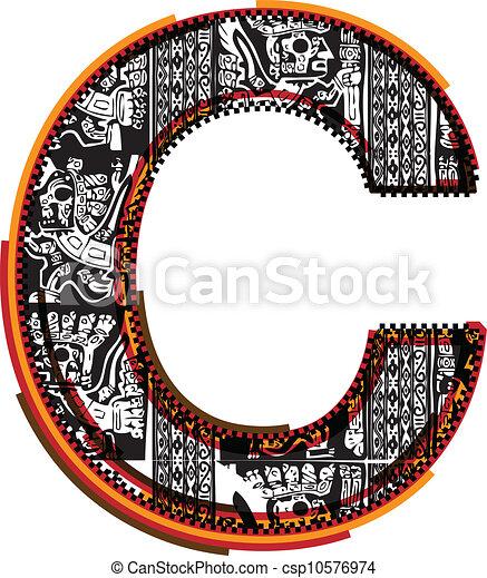 Inca?s font. Vector Illustration - csp10576974