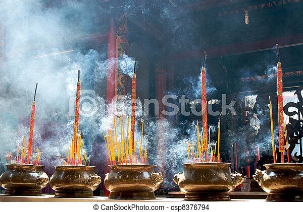 Incense sticks in pagoda - csp8376794