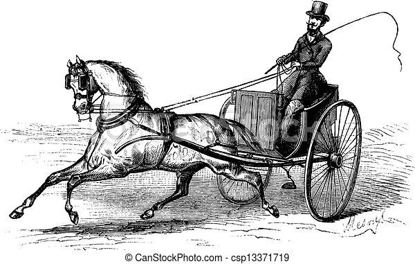 incisione, 2-wheeled, vendemmia, carrello, singolo, disegnato, cavallo - csp13371719