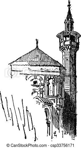 incisione, vendemmia, minareto - csp33756171