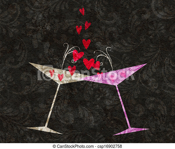 Champán atado o vasos de martini con corazones - csp16902758
