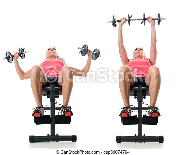 Inclined Dumbbell Bench Press - csp30074764