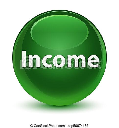 Income glassy soft green round button - csp50674157