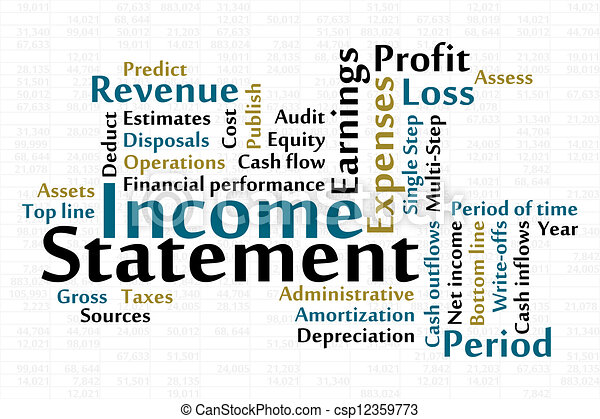 Income Statement Word Cloud With Data Sheet Background Vectors