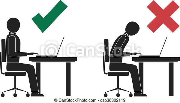 incorrect, attitude, correct, computer., séance - csp38302119