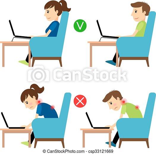 incorrect, position, usage, ordinateur portable, correct - csp33121669