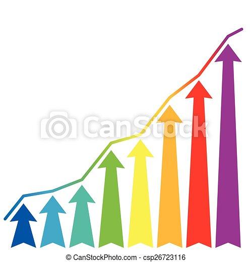 increase growth rainbow arrows - csp26723116